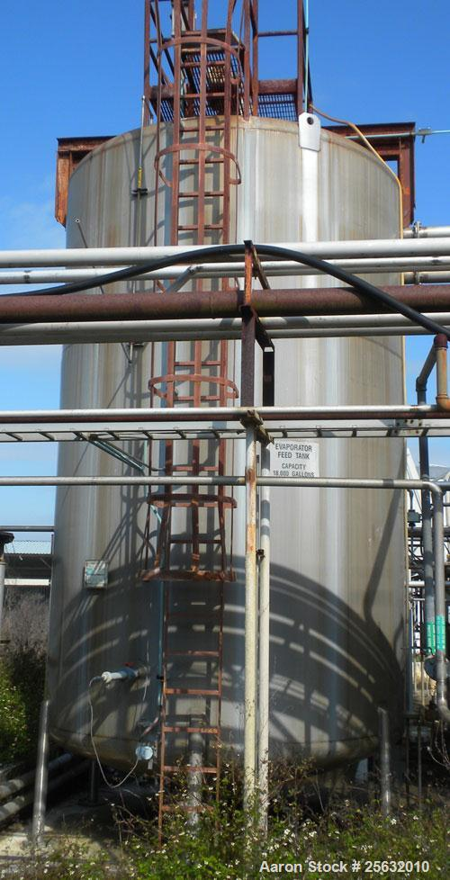 Used- Walker Storage Tank, 16,000 Gallon, 316L stainless steel, vertical. Approximate 12' diameter x 18' straight side, dish...