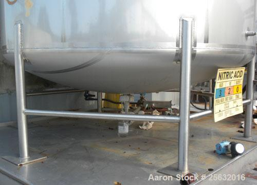 """Used- Walker Storage Tank, 10,000 Gallon, 316L Stainless Steel, Vertical. Approximate 9'6"""" diameter x 16' straight side, dis..."""