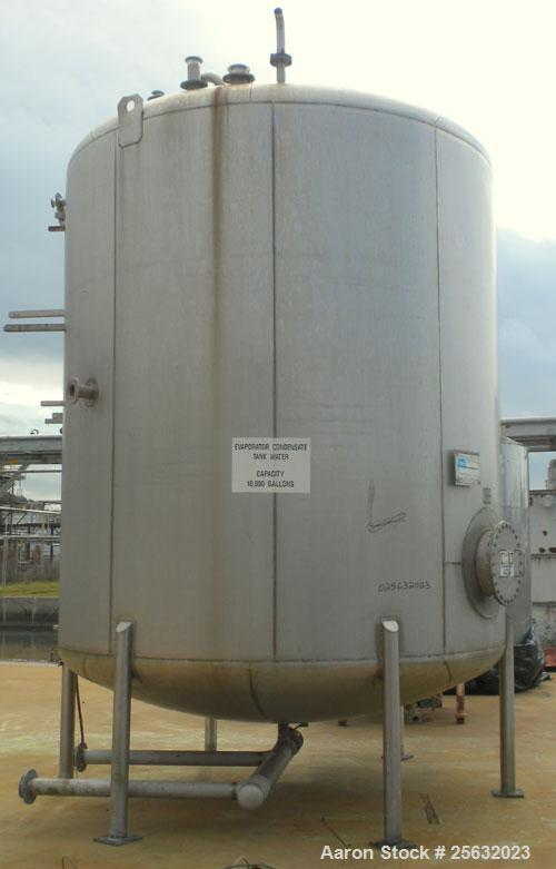 """Used- Walker Storage Tank, 10,000 Gallon, 304L stainless steel, vertical. Approximate 138"""" diameter x 144"""" straight side, di..."""