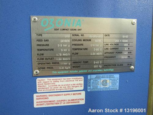 Used-Ozone System. Provides a total of 43 lbs per day of 6% ozone using oxygen. Requires an instrument air supply in order t...