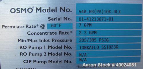 Used- Osmonics Reverse Osmosis System, Model 54A-HR(PA)10K-DLX