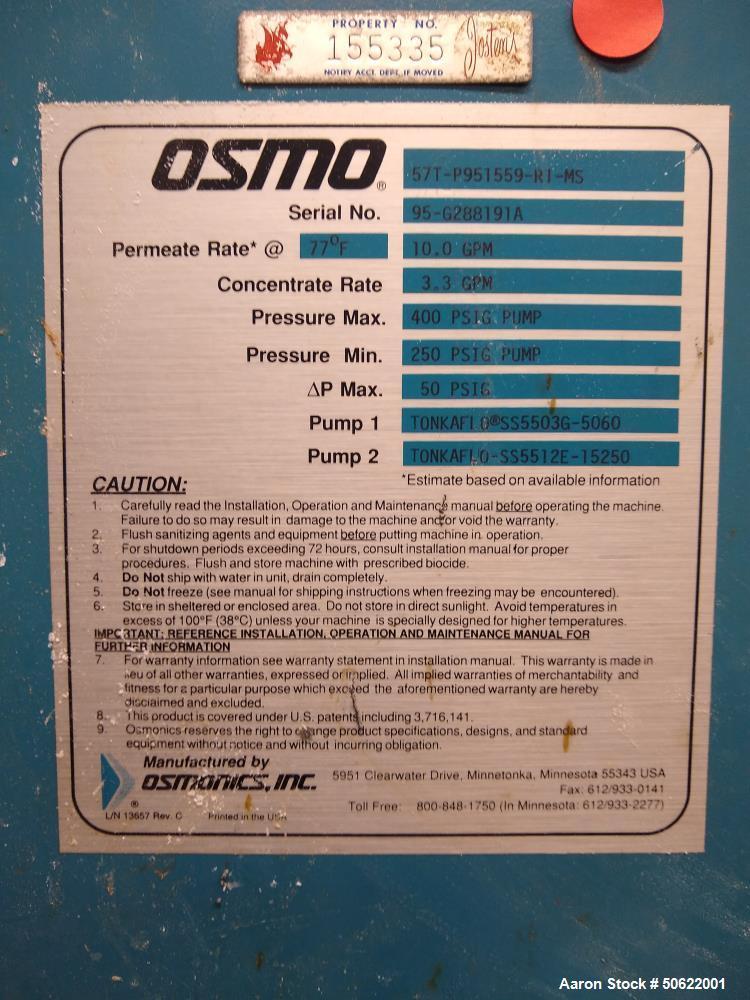 Used- Osmonics Reverse Osmosis System